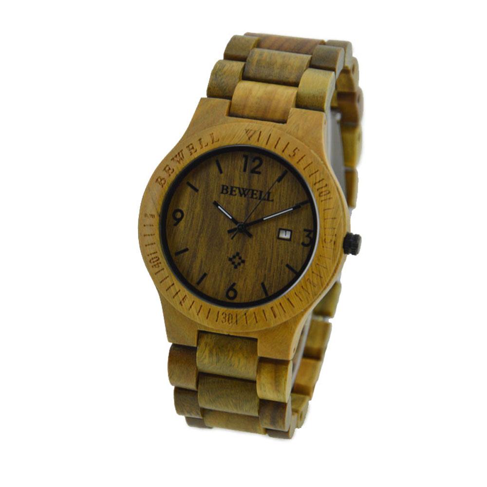 58f6e935d007 Compre Al Por Mayor BEWELL Reloj De Madera Hombres Mujeres Reloj ...