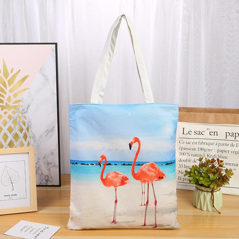 ファッション動物フラミンゴキャンバストートバッグ漫画プリント鳥ジッパー女性のハンドバッグのファッションショッピングバッグ