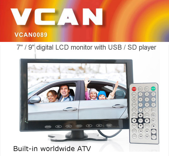 VCAN0951 9 inch tft lcd car tv monitor with USB SD mp5 player Bulitin Analog TV