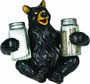 River's Edge Hand Painted Poly Resin Salt and Pepper Shaker Set (Black Bear) by River's Edge Products