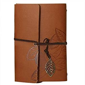 Leaf Pendant Diary Book - SODIAL(R)PU Leather Diary book Notebook Leaf Pendant Vintage Notebook 19x13.5cm, Coffee