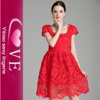 Short Sleeve Mini Red Bridesmaid Lace Wedding Dress