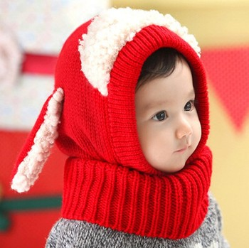 Baby Warm Knit Hat Winter Beanie Hooded Scarf Earflap Knitted Knitting  Santa Infant elf dri fit c17709e81c2c