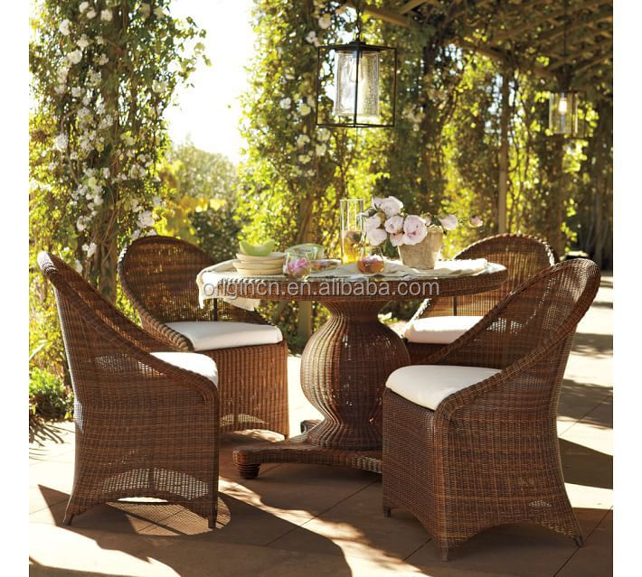glass top round table and chairs rattan outdoor home garden french bistro set - Garden Furniture Top View