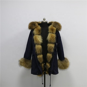 Women Fashion raccoon fur parka warm parkas men real fur parka