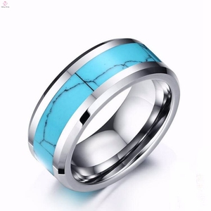 Factory Wholesale Popular Turquoise Inlay Tungsten Ring for Men