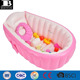 eco-friendly vinyl pink inflatable toddler bath tub baby bathtub with soft cushion central seat