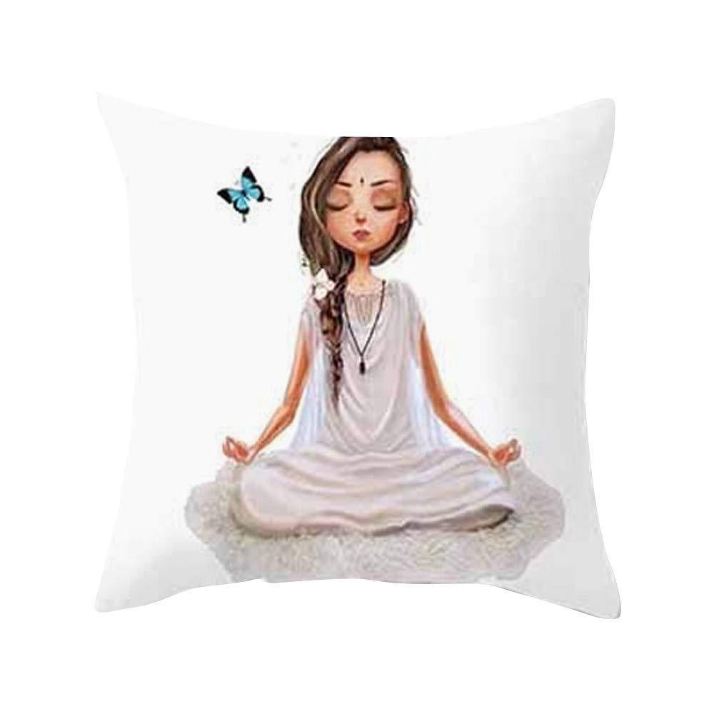 MaxFox Yoga Meditation Throw Pillow Cover Cotton Line Pillow Case Cushion Office Room Car Decor