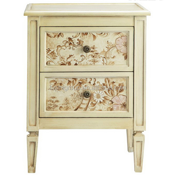 Colorful Shabby Chic 2 Drawers Nightstand Antique European Handpainted Bedroom Furniture Bf11 09282a
