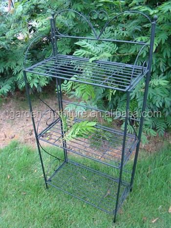 Wrought Iron Free Standing Folding Plant Stand 3 Tier Display Shelf Unit Shelves  Garden Metal Shelf