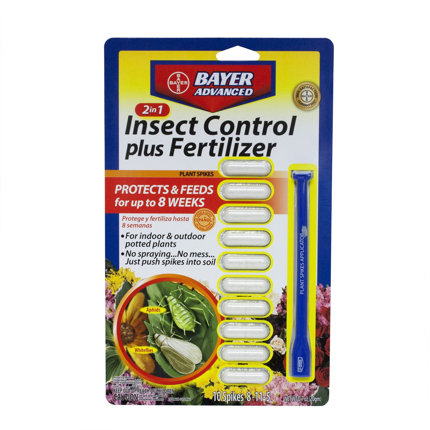 Bayer Advanced 2-In-1 Insect Control Plus Fertilizer Plant Spike 1 spike 10 tablets