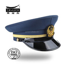 Hot sale fashion custom made fitted coast guard sergeant cap with leather