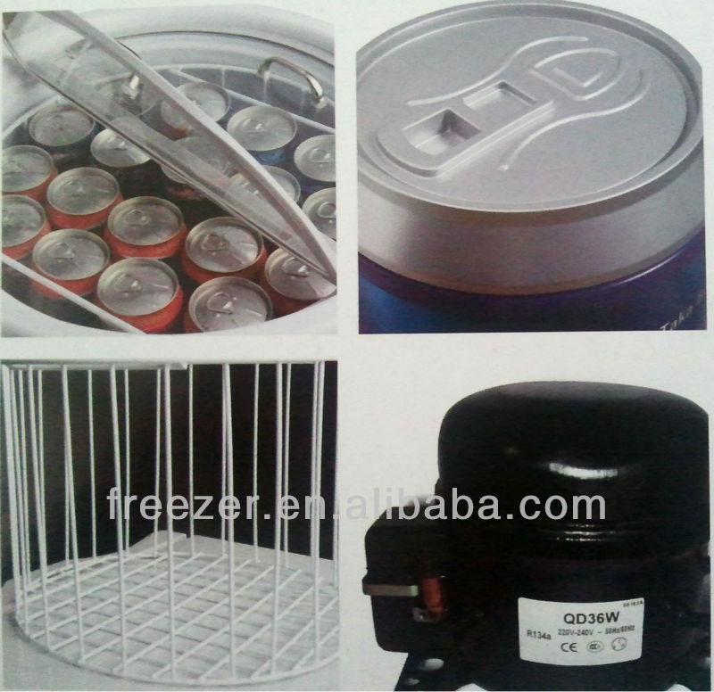 2017 50l Transparent Glass Door Barrel Wine Cooler For