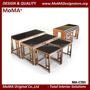 MA CT03 Banquet Furniture Square Stainless Steel Golden Buffet Table
