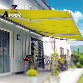 Hot sale luxurious outdoor waterproof UV protection used aluminum full cassette retractable balcony roof awnings with LED light
