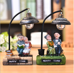 Japanese-style groceries old lady old night light resin crafts decoration