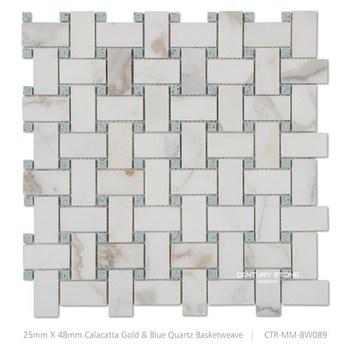 Calucatta Marble Basketweave Mosaic Floor Tile Pattern Adhesive ...