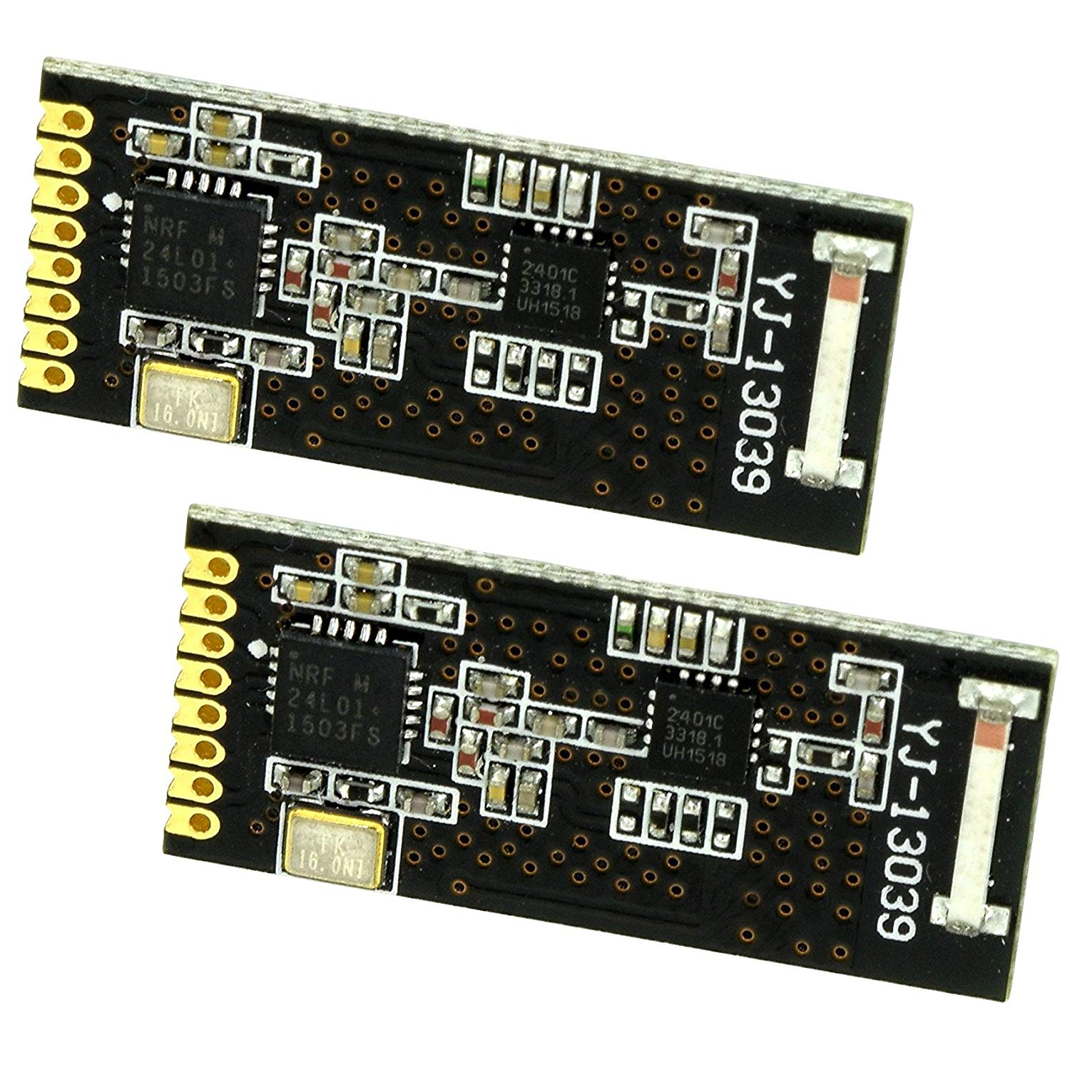 2pcs Miniature Long Range nRF24L01 Transceiver PA + LNA (with a single line of pins) by Optimus Electric