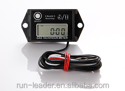 Digital Inductive Waterproof Resettable Gasoline Engine Hour Meter Record RPM Tachometer