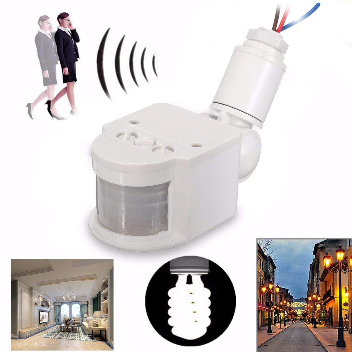Wincom Dishman LIGHTING ACCESSORIES Outdoor LED Security Infrared PIR Motion Sensor Detector Wall Light Lamp Switch AC110V-240V