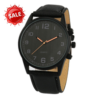 Big sale black leather quartz men watch wholesale