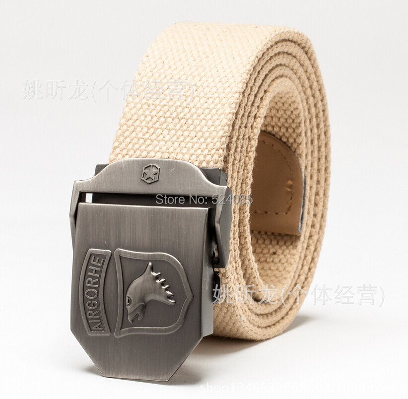 Brand free man's fashion metal quality military army eagle Airborne thick striped canvas strap belts waist belt cintos  for man