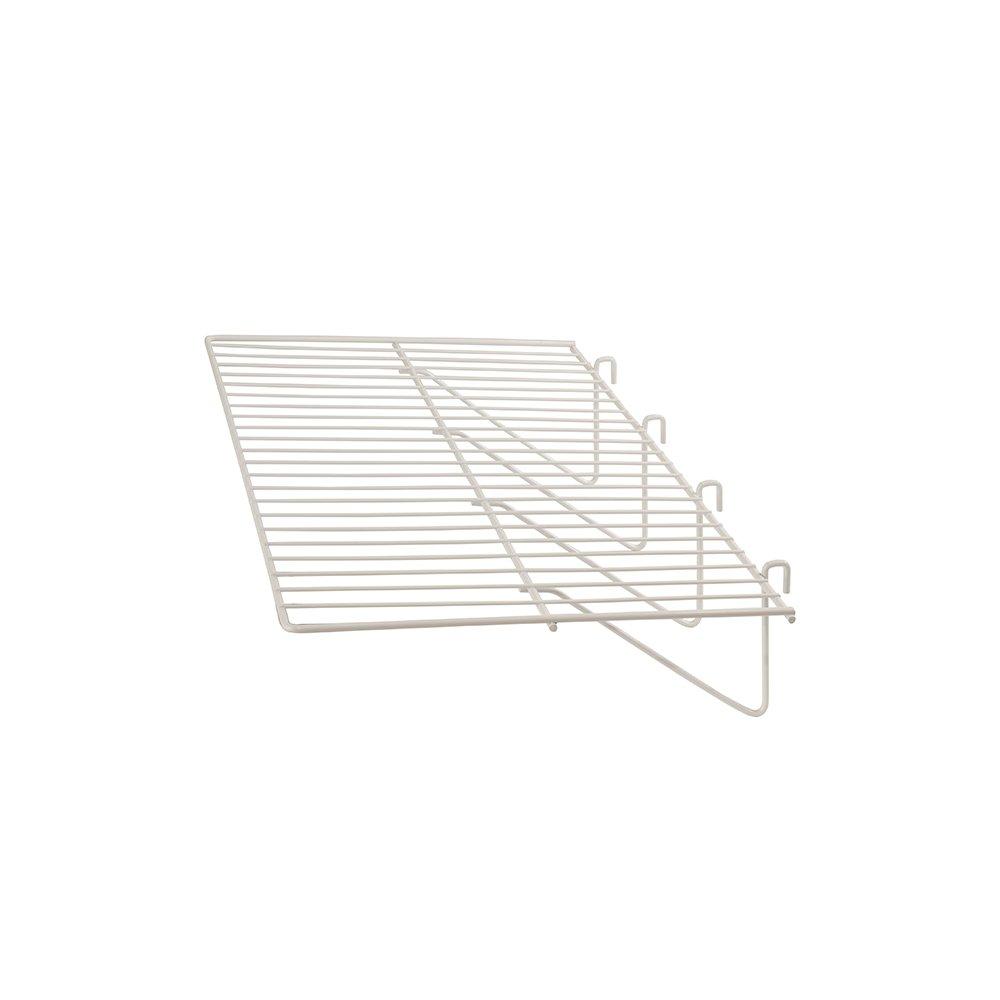 "Grid Panel Display Shelf - Clothing Display Rack Grid, Heavy Duty Shelves, 12""D x 23-1/2""W Straight Shelf for Grid Panel, White Finish, Wire, (Box of 6)"
