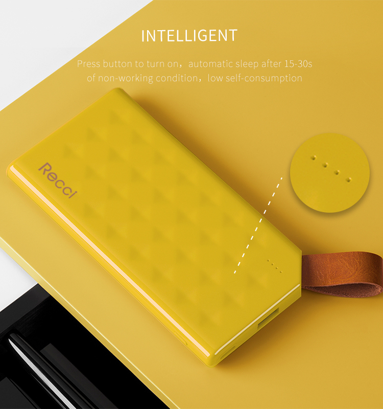 Recci promotional gift ultra slim power bank 8000mah for travelling