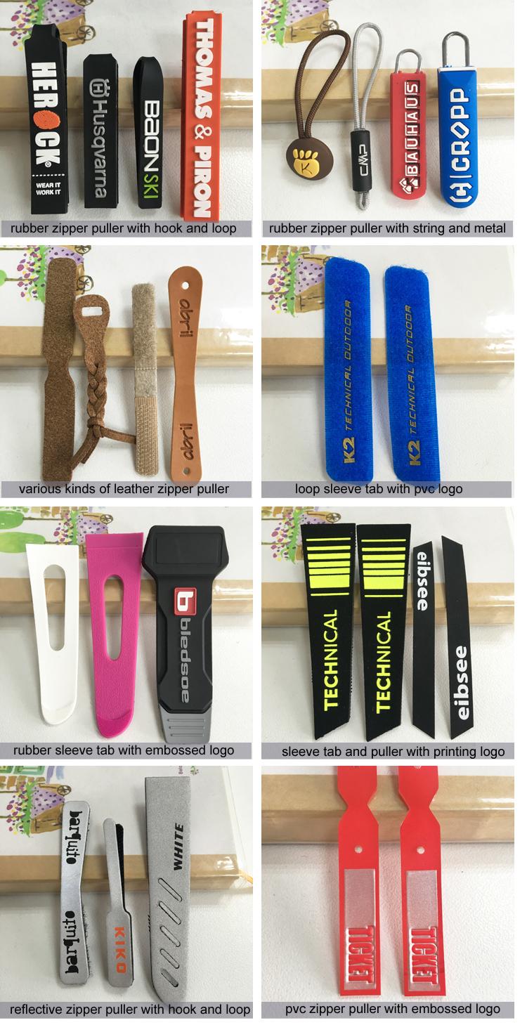 Hoge Kwaliteit Custom Logo Fancy Brand Plastic Rubber PVC Zak Rits Puller Rubber Siliconen Zip Puller/slider voor Tassen