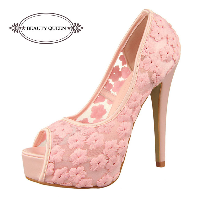 9afd4569b90f Sexy Shoes Chucky Open Toe Platform Pumps Women High Heels Women Sandals  Wedding Shoes White Lace