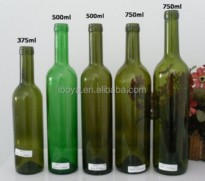 375ml/500ml/750ml Cheap Colored Bordeaux Style Wine Bottles
