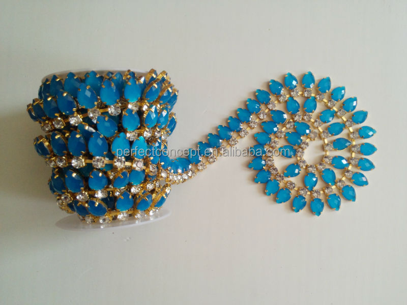 Hot selling bead trimming shining blue drop rhinestone trimming for dresses