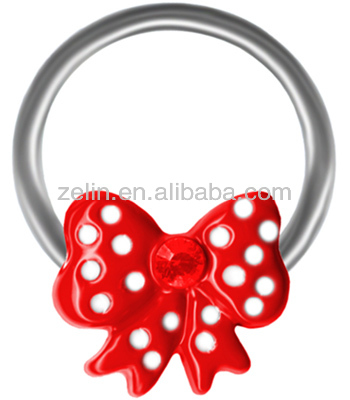 Red Polka Dot Bow Cartilage Earring Captive Ring-Bow Nipple Ring-Tragus Hoop-18g-16g-14g