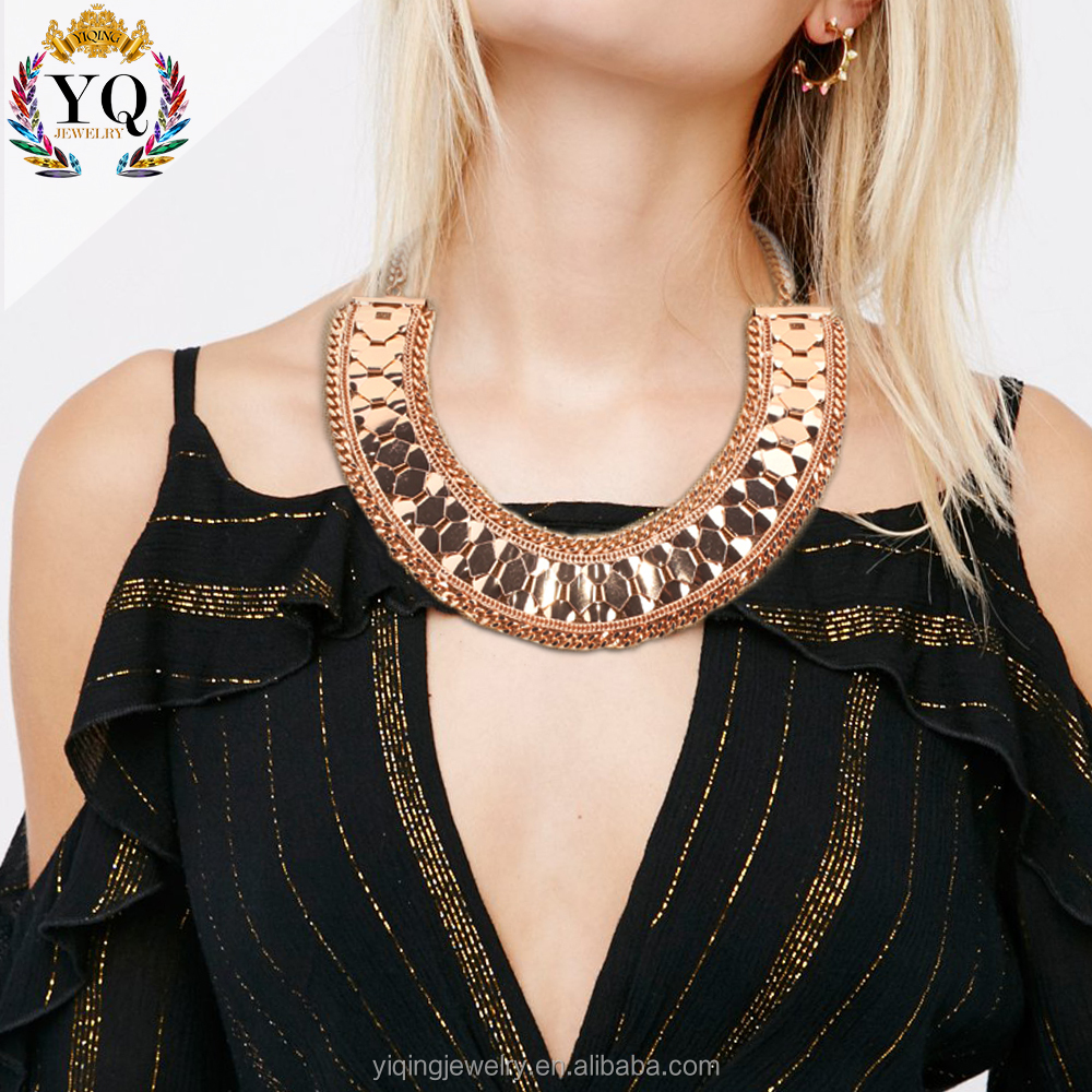 NYQ-00234-1 2017 india wide choker rose gold chunky statement necklace