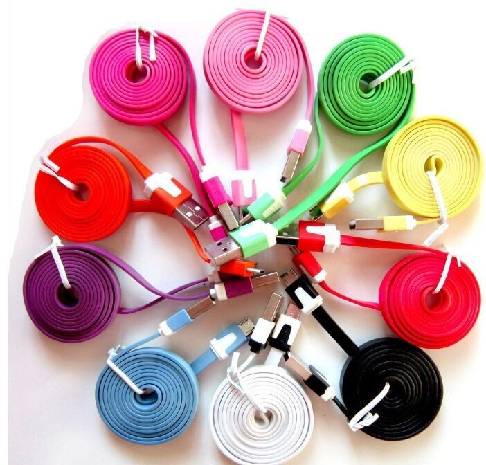 1M 3ft Colorful Flat Micro Usb Sync Data & Charge Cable For Samsung S3 S4 S5 for HTC Nokia Android phones