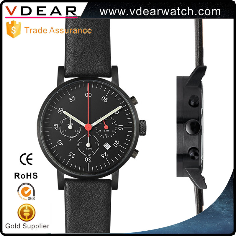 All black multi function chronograph oem quartz watches custom watch factory with leather strap
