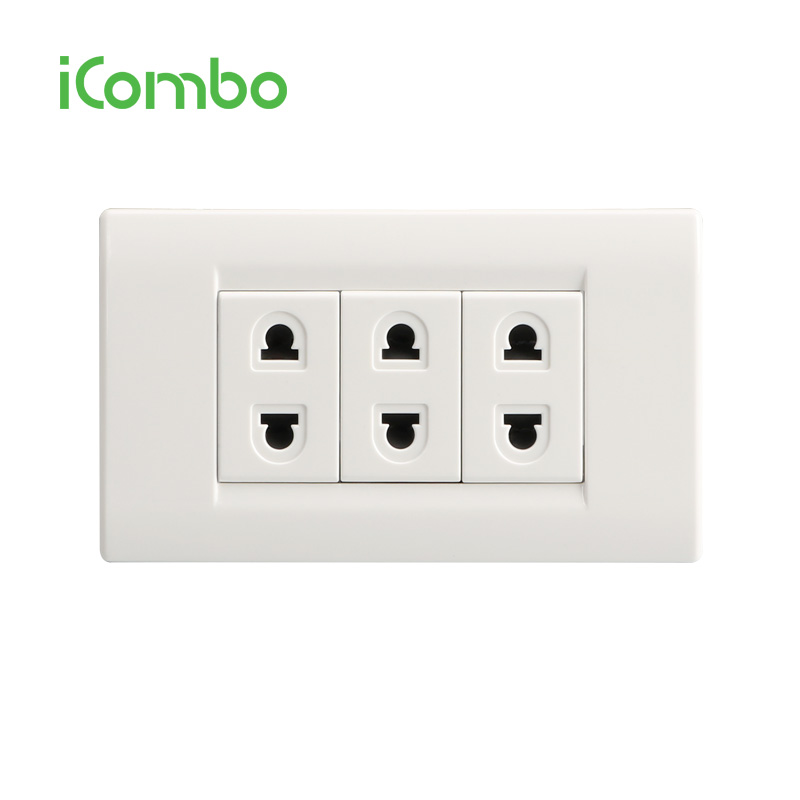 UK/USA/Euro/South America 3 갱 2 핀 벽 Socket Outlet