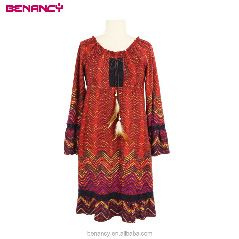 Stylish Gypsy Boho Smocking Dress Zigzag Printed Ethnic Women Dress With Lace