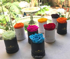 Luxury mini single round flower box for one rose with plastic inner round box