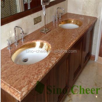 Beau Precut Double Bathroom Sink Red Marble Countertop