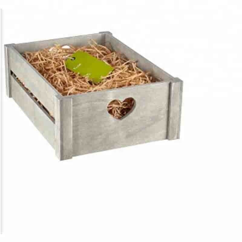 Rustic Grey Wedding Wooden Photo Storage Crate With Heart Cutout Handle
