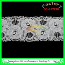 Fashion African embroidery Lace Fabric 92% Nylon & 8% Spandex Elastic Lace Trim white elastic lace trim