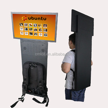 22 inch Convenient store lcd display portable advertising player/ human walking mobile billboard