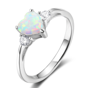 High quality heart opal 925 sterling silver rings