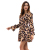 YILEYA 2019 Spring Summer sexy leopard print ruffle long sleeve short mini women wrap dress