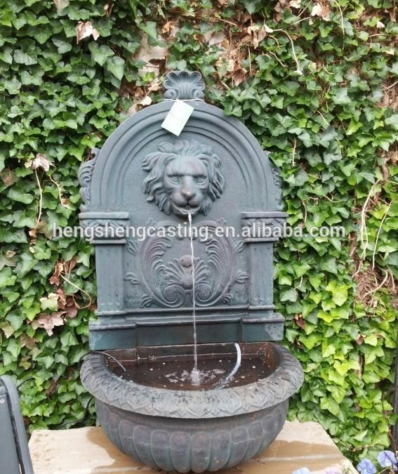 Cabeza de le n fuente de agua de hierro fundido jard n de for Fuentes de jardin de pared