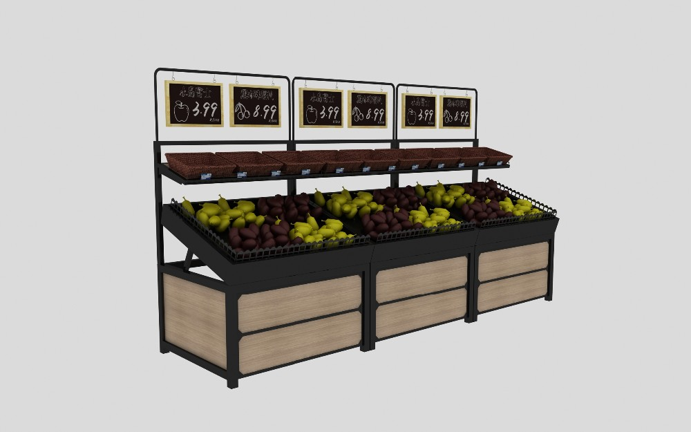 2 Tier Fruit And Vegetable Produce Display Rack Shelves