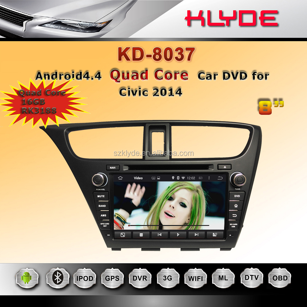 klyde special 2 din Android car dvd player for honda civic 2014