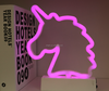 2018 New Design Battery Operated Unicorn Shaped Table Night LED Neon Pink Light Best For Christmas Party Hoom Decoration