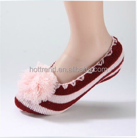 Women ladies acrylic knitted ped socks slipper socks with large pom pom and handcrochet trim and anti-slip grippers